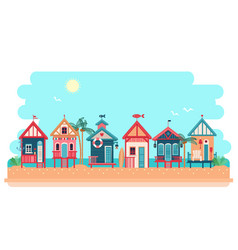 beach bungalow hotel summer vector image