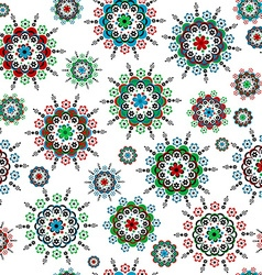 Floral seamless with round colorful flowers vector image