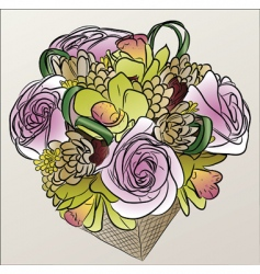 flower basket vector image