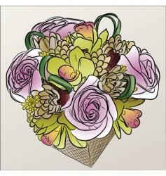 flower basket vector image vector image