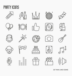party and celebration thin line icons set vector image