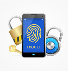 realistic 3d mobile security on screen with lock vector image vector image