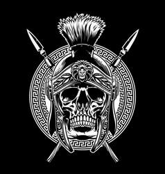 Skull of roman warrior with sword crossed vector
