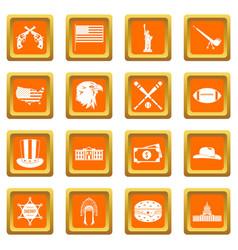 Usa icons set orange vector