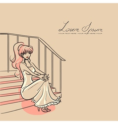 woman and staircase vector image vector image