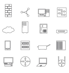 computer network simple outline icons set eps10 vector image vector image