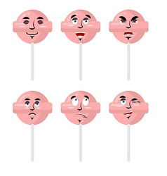 Emotions lollipop Set expressions avatar candy vector image vector image