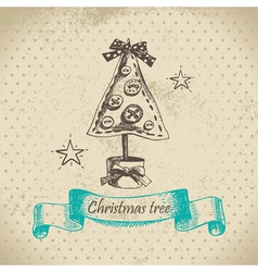 Hand drawn Christmas tree design vector image