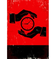 Hands holding clock vector image