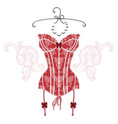 ladys sexy red vintage corset vector image
