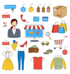 online shopping hand drawn icons set vector image vector image