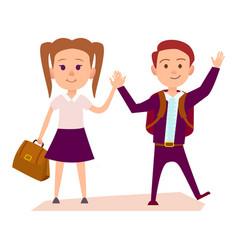 schoolboy and schoolgirl hold hands vector image