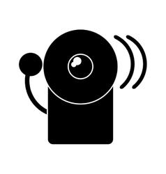 Silhouette alarm fire emergency alert icon vector