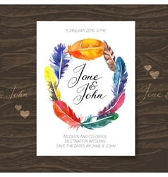 Wedding invitation card with watercolor feathers vector image