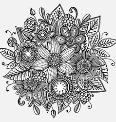 with hand drawn flowers bouquet vector image