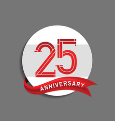 25 anniversary with white circle and red ribbon vector