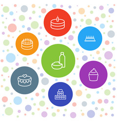 7 cupcake icons vector