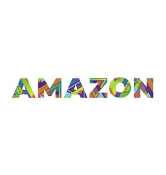 Amazon concept retro colorful word art vector