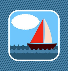 App Icon Boat in Sea vector image