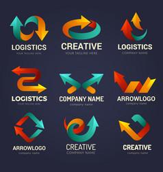 arrows logo business identity symbols vector image