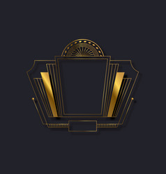 Art deco gold black vintage line frame background vector