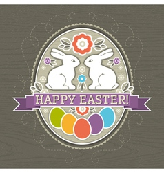 background with easter eggs and two rabbit vector image