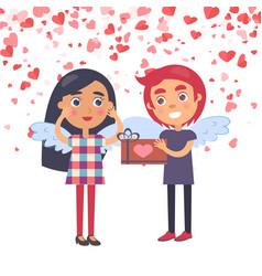 Boy making surprise present for girlfriend vector