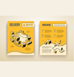 Brochure template for worldwide shipping vector