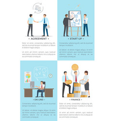 Business set of posters with white-collar workers vector