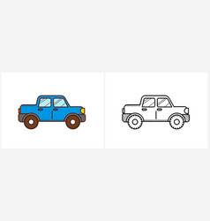 car coloring book for kids side view auto vector image