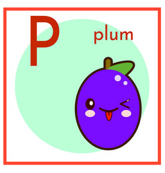 Cartoon fruit alphabet flashcard p is for plum vector