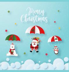 Christmas characters make a parachute jump vector