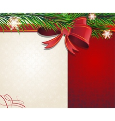 Christmas tree branches with red bow vector