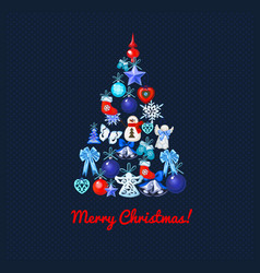 christmas tree with decoration on a blue dotted vector image
