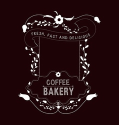 Coffee bakery Vintage frames and Floral Ornaments vector