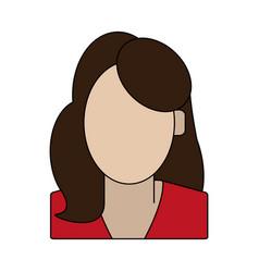 Color graphic faceless half body woman vector