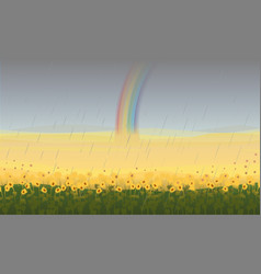 colorful beautiful field landscape background vector image