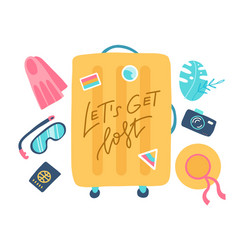 composition with a yellow suitcase and vector image