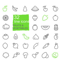 contour icons vegetables and fruit vector image