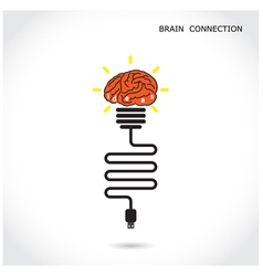 Creative light bulb symbol and brain connection vector image