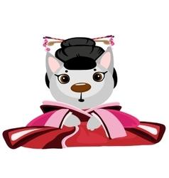 Cute kitty geisha on white background anime vector