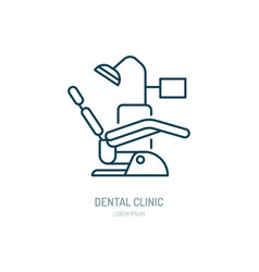 dentist chair orthodontics line icon dental care vector image