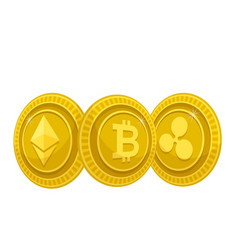 digital currency golden coins white background vec vector image