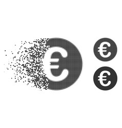 Dissolved pixelated halftone euro coin icon vector