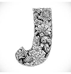 Doodles font from ornamental flowers - letter J vector