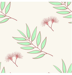 eucalyptus seamless pattern blue agonis thyme vector image