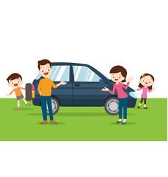 Family happy a new car vector