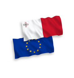 Flags european union and malta on a white vector