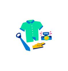 flat set of modern man shirt new blue tie vector image