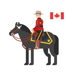 Flat style of royal canadian mounted police vector